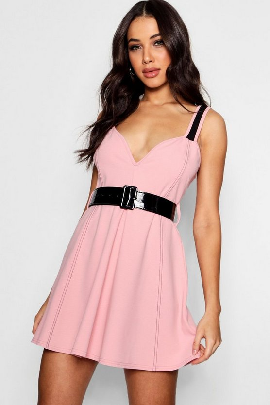 Boutique Contrast Belted Skater Dress