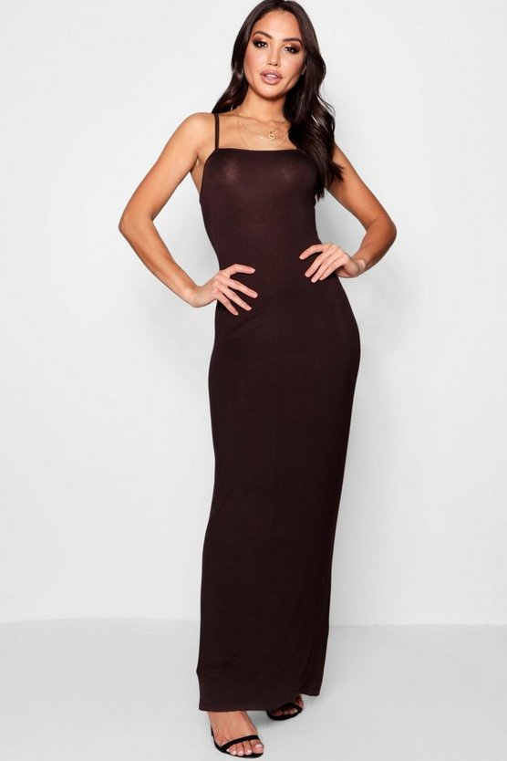 Erica Extreme Square Neck Strappy Maxi Dress