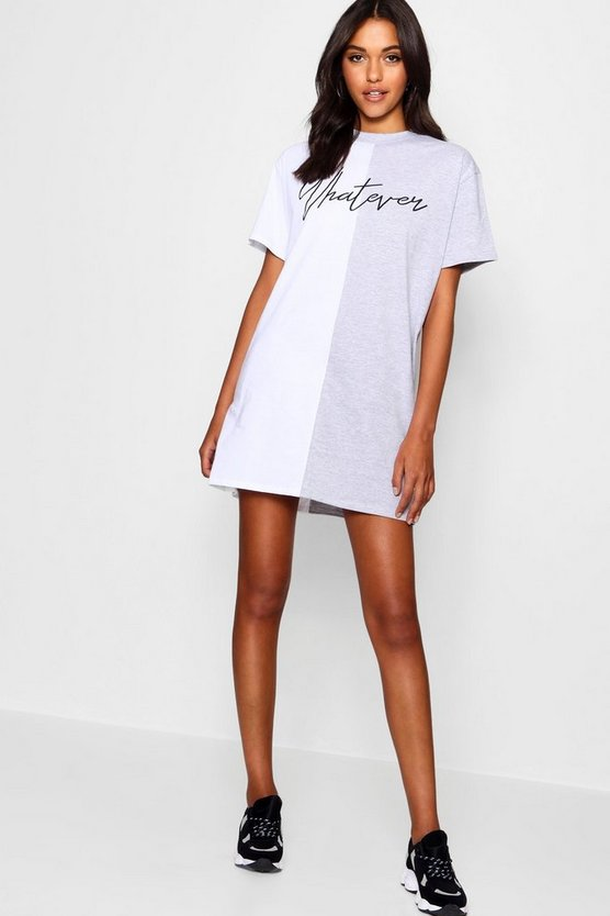 Nina Whatever Colour Block T Shirt Dress by Boohoo