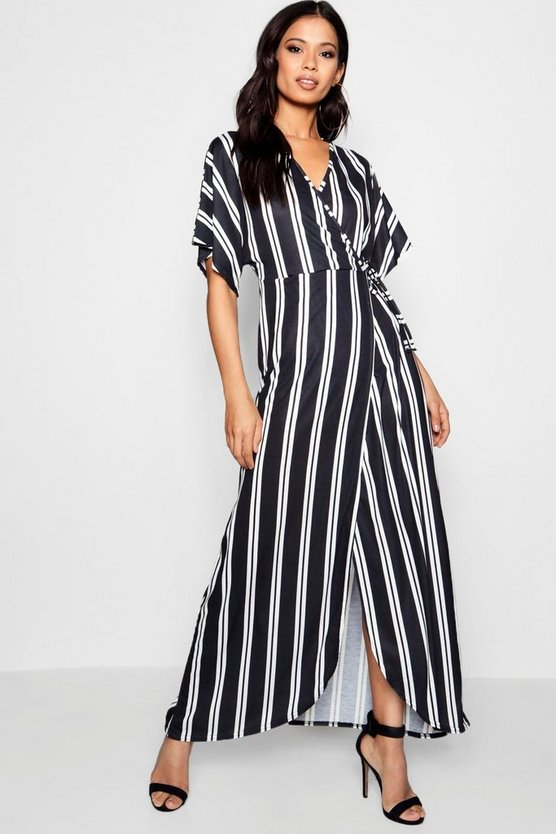 Myla Striped Angel Sleeve Wrap Front Maxi Dress