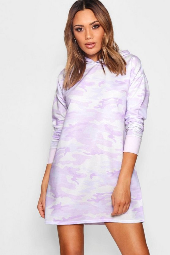 Marcell Oversized Hooded Camo Sweat Dress