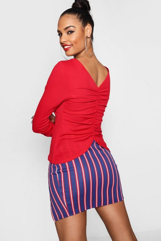 Rib Long Sleeve Ruched Back Top