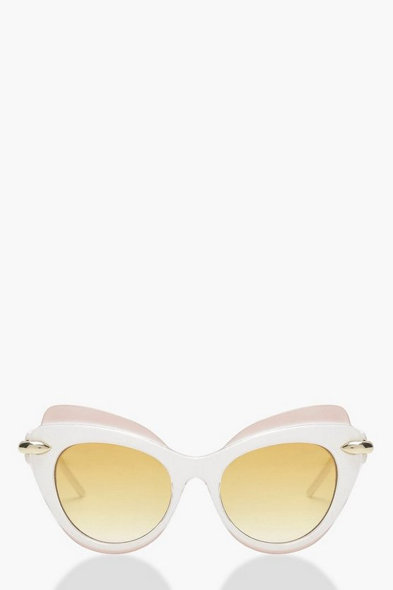 Heather Contrast Top Bar Cat Eye Sunglasses