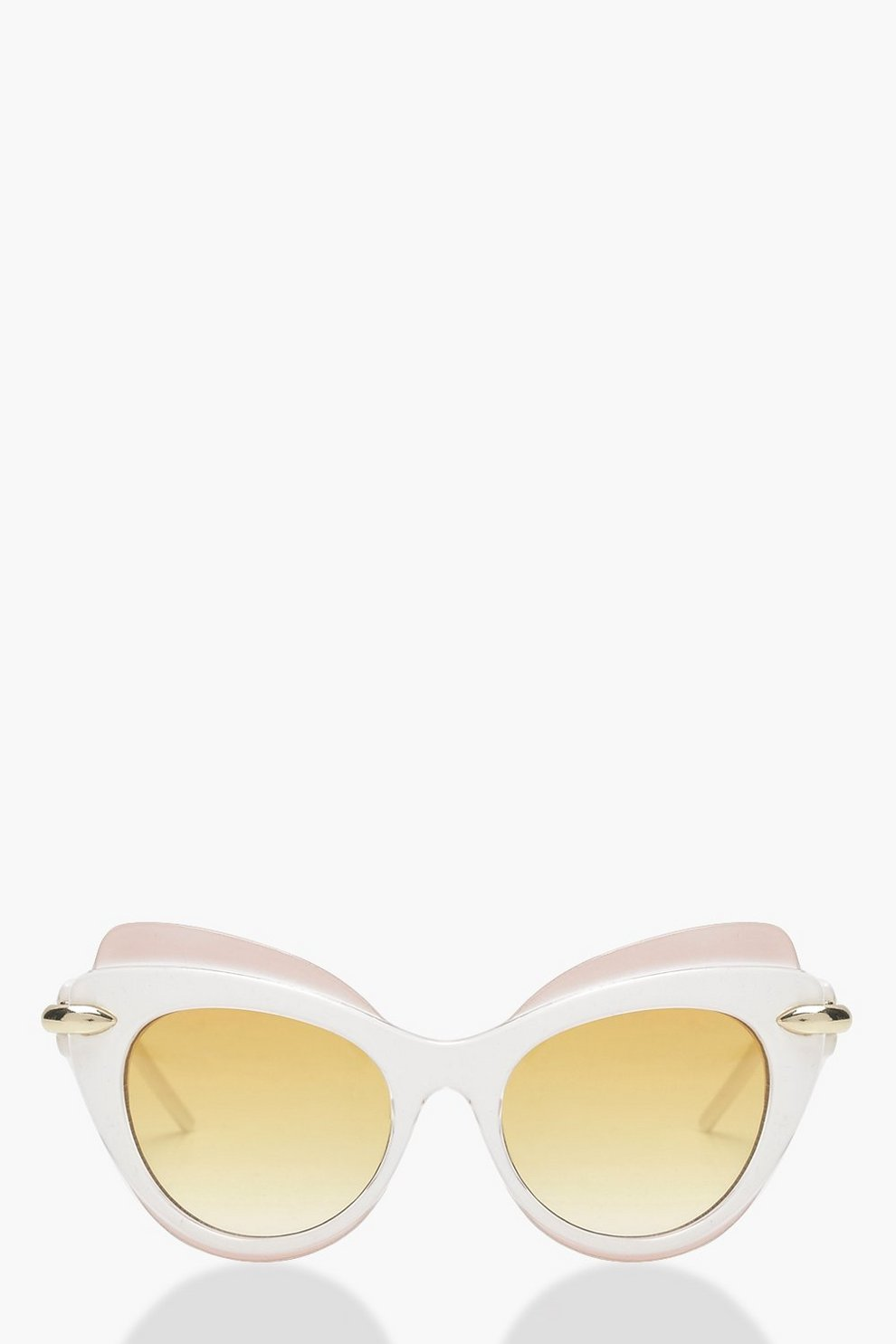 Heather Contrast Top Bar Cat Eye Sunglasses by Boohoo