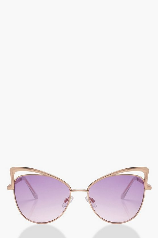 Cut Out Cat Eye Lilac Lens Sunglasses
