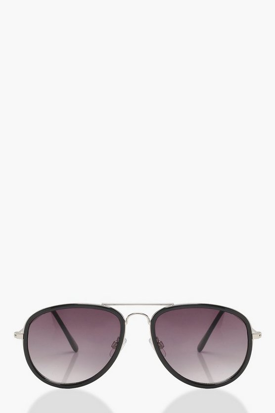 Black Frame Aviator Sunglasses
