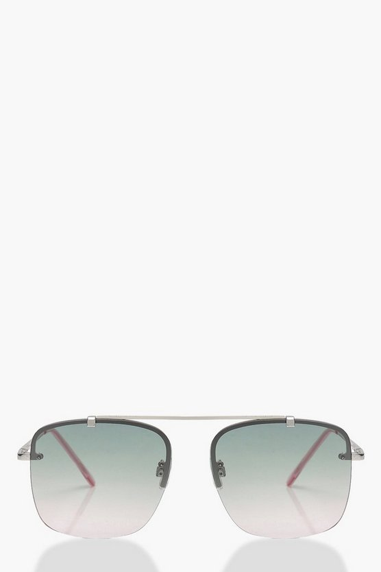 Ombre Lens Square Aviator Sunglasses