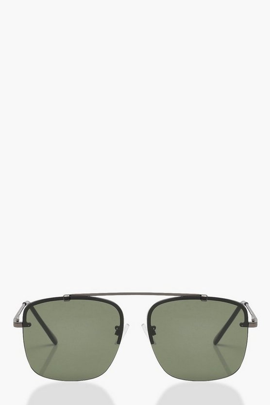 Amy Half Frame Square Aviator Sunglasses