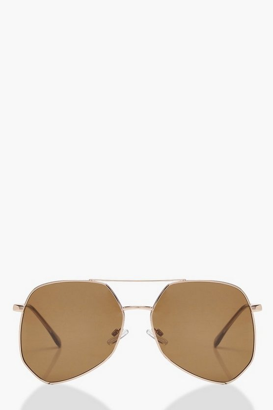 Ella Angular Brown Aviator Sunglasses
