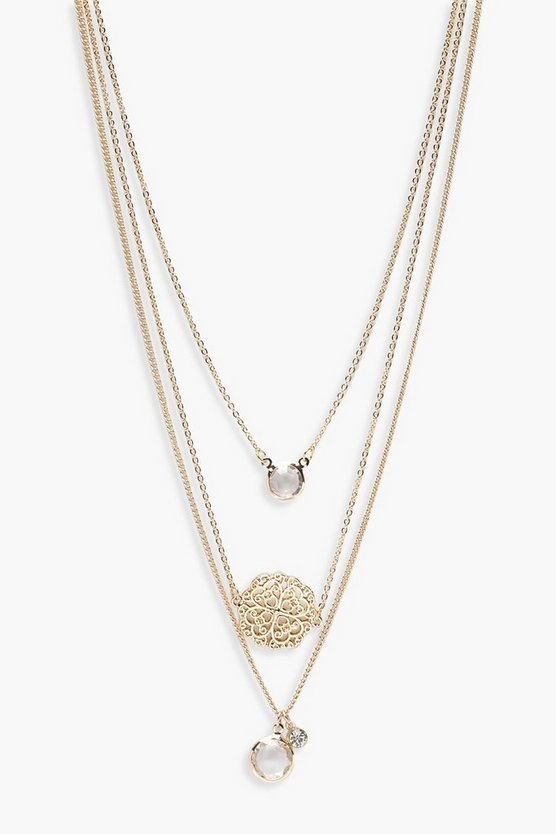 Millie Filigree Coin Pendant Layered Necklace