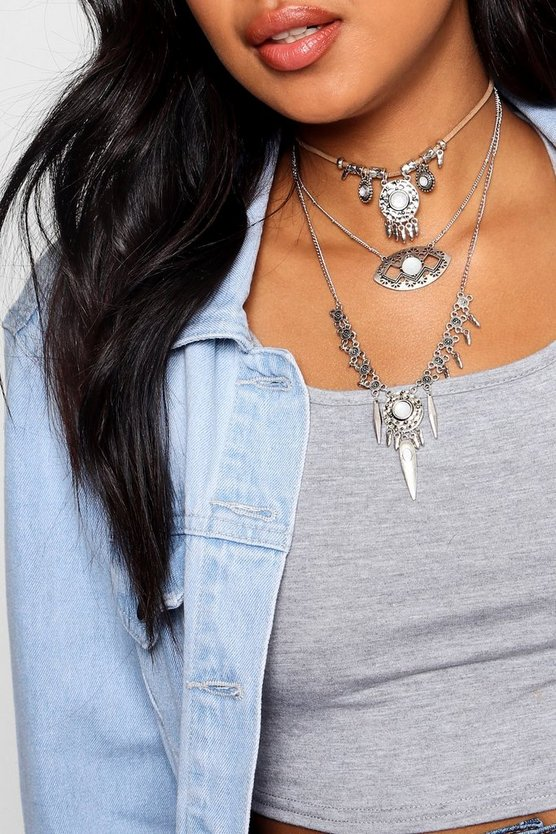 Lucy Boho Layered Statement Necklace
