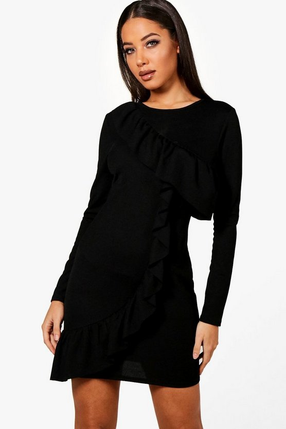 Nyla Ruffle Front Long Sleeved Bodycon Dress