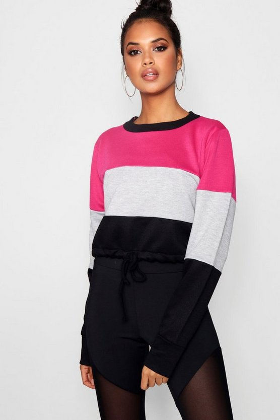 Belle Athleisure Colour Block Crop Sweat