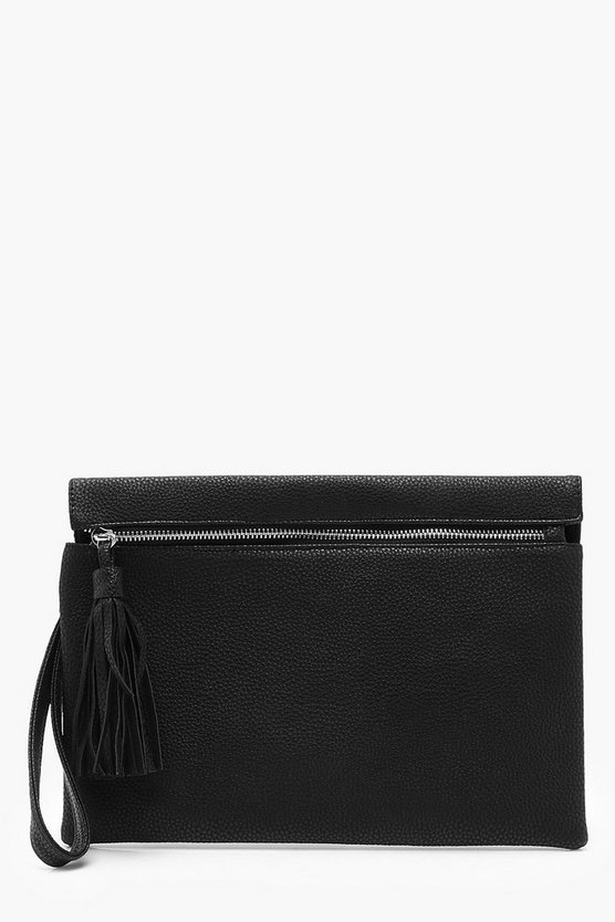 Zip & Tassel Clutch Bag
