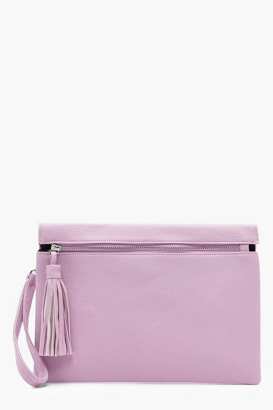 Kelly Zip & Tassel Clutch Bag
