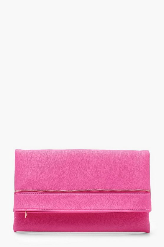 Rose Zip Detail Foldover Clutch