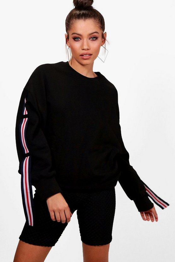 Hallie Athleisure Stripe Sleeve Crew Sweat