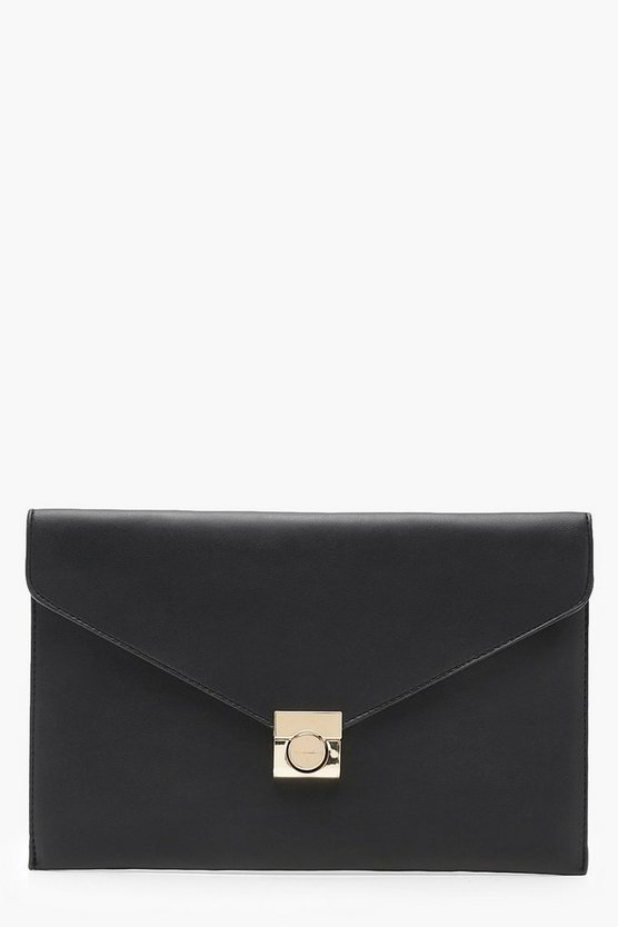 Honey Envelope Clutch With Lock
