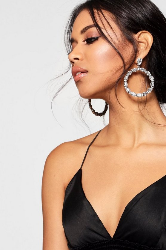 Circle Statement Diamante Earrings