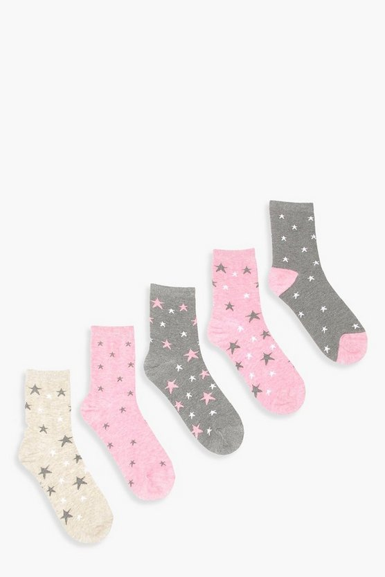 5 Pack Star Marl Ankle Socks