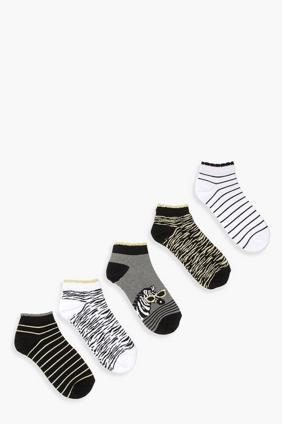 5 Pack Zebra Stripe Glitter Trainer Socks