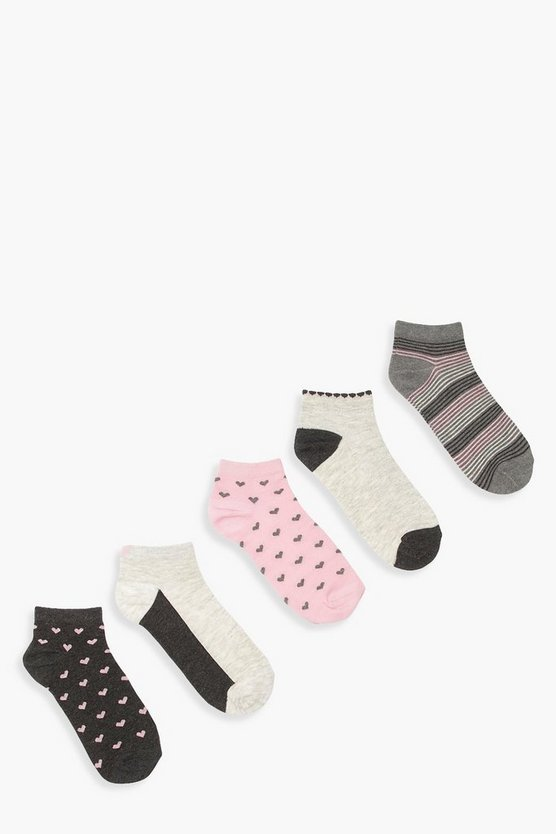 5 Pack Heart and Glitter Trainer Socks