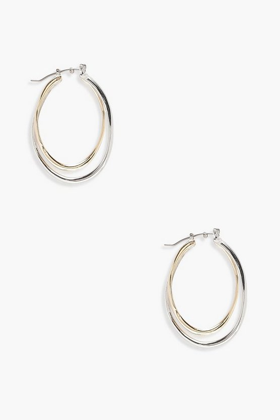 Layered Mixed Metal Oval Hoop Earrings