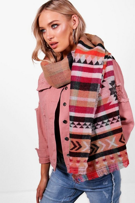Danni Aztec Oversized Woven Scarf