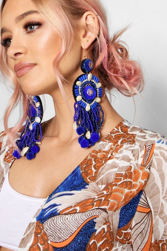 Rebecca Statement Beaded Pom Earrings