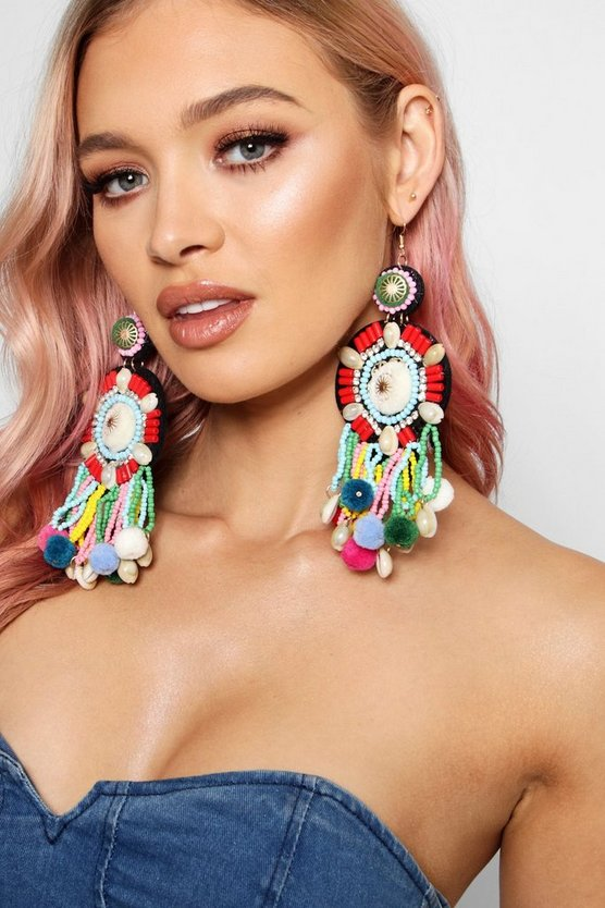 Polly Statement Beaded Pom Earrings