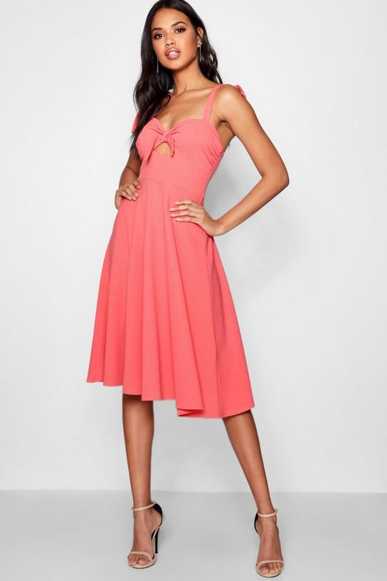 Boutique Tie Detail Midi Skater Dress