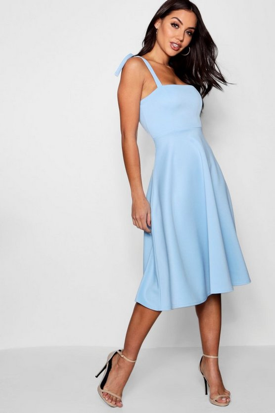 Boutique Mary Tie Shoulder Midi Skater Dress