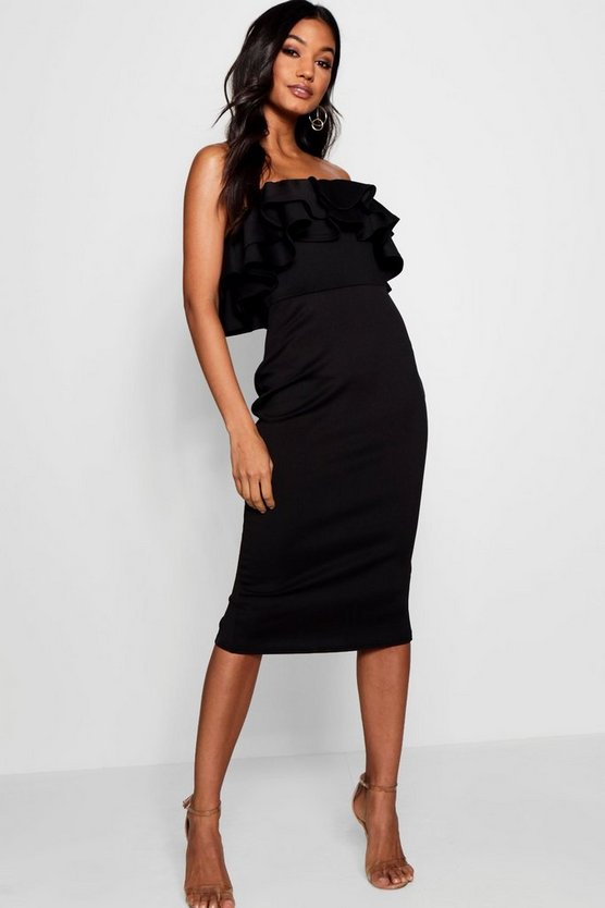 Nia Bandeau Ruffle Detail Midi Dress