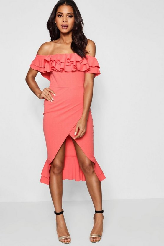 Jas Ruffle Off the Shoulder Midi Dress