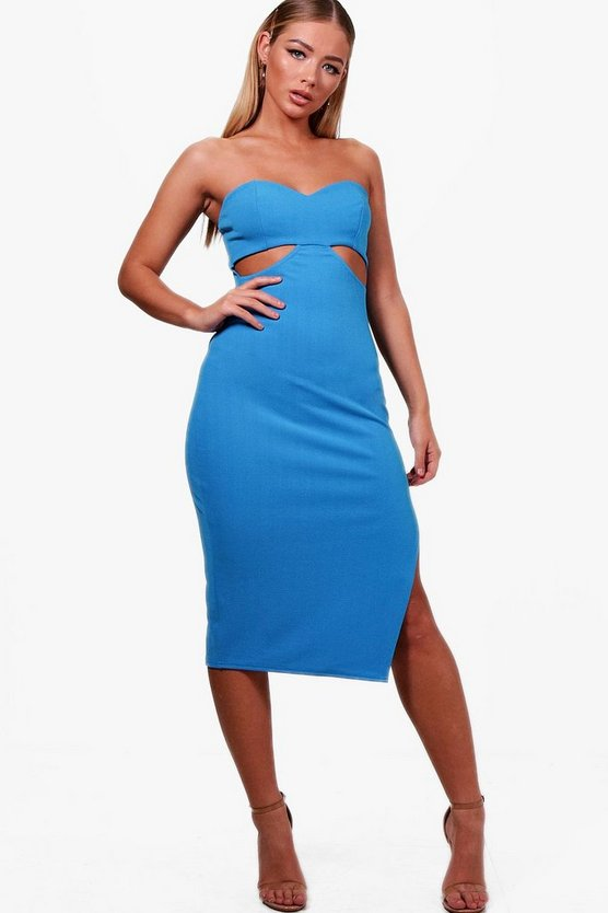 Bandeau Cut Out Detail Midi Dress