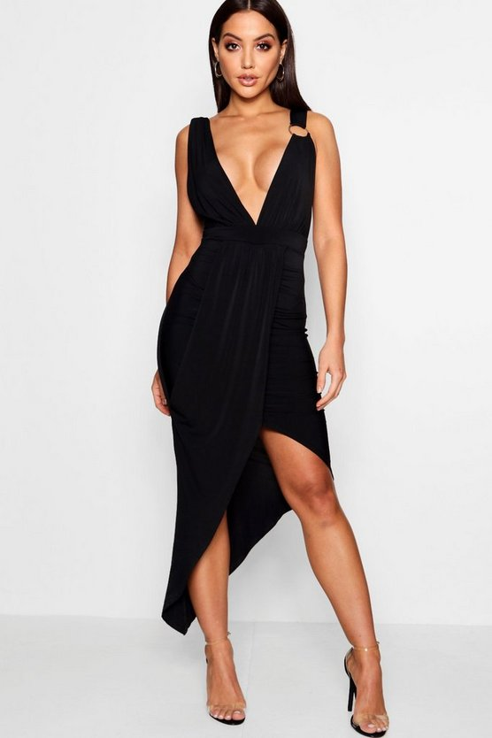 Ruby Plunge Neck Drape Detail Midi Dress