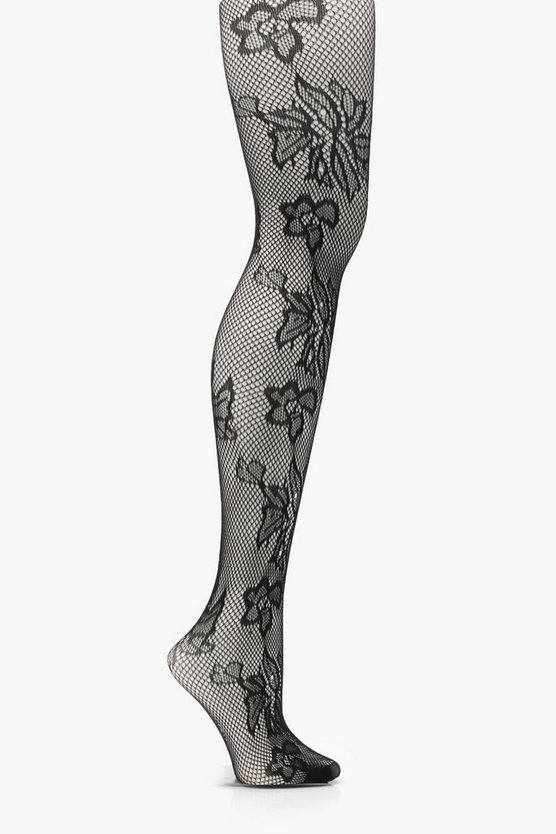 Amy Floral Fishnet Tights