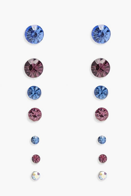 Ivy Mixed Diamante Studs 7 Pack