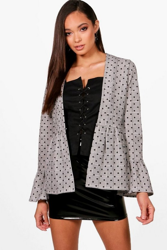 Polka Dot Check Ruffle Jacket