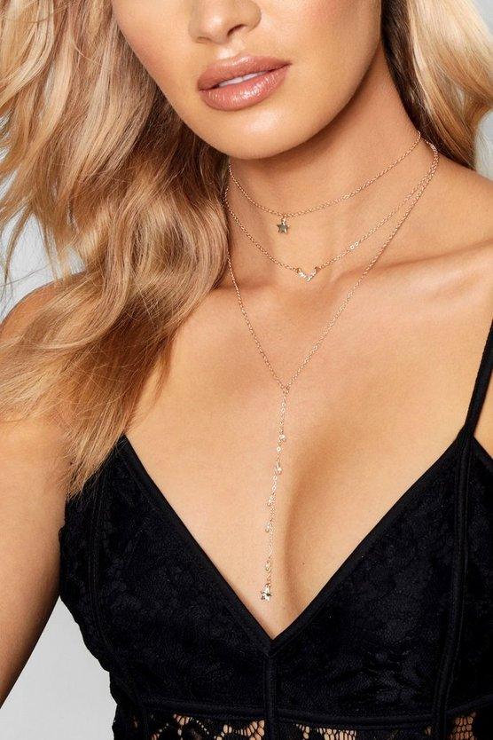Diamante & Star Choker Plunge Necklace
