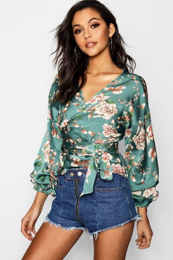Fiona Floral Wrap Front Top