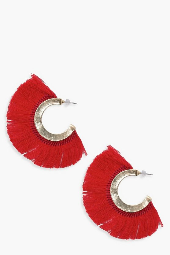 Yasmin Fringed Tassel Hoop Earrings