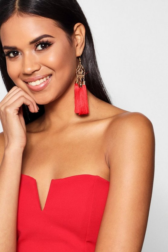 Holly Statement Floral Tassel Earrings