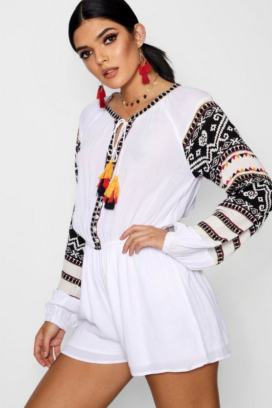 Belle Boho Multi Tassel Trim Smock Style Playsuit