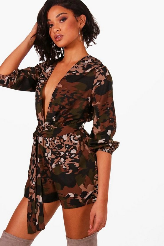 Sky Tie Front Camo + Animal Playsuit