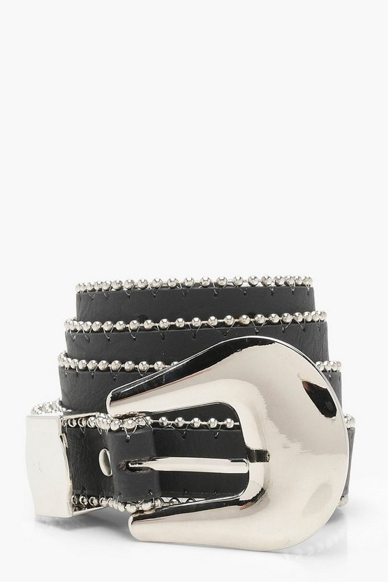 Chunky Buckle Metal Trim Belt
