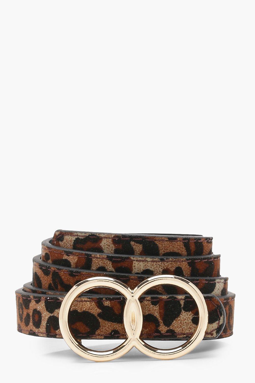Купить со скидкой Двойное кольцо Ремень под замшу с леопардовым принтом