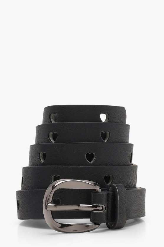 Pastel Heart Cut Out Skinny Belt