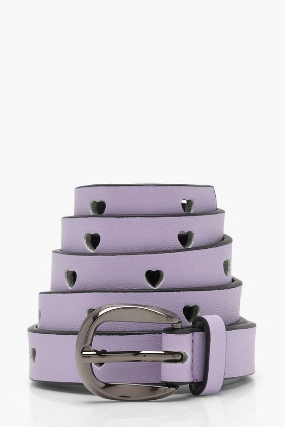 Mia Pastel Heart Cut Out Skinny Belt
