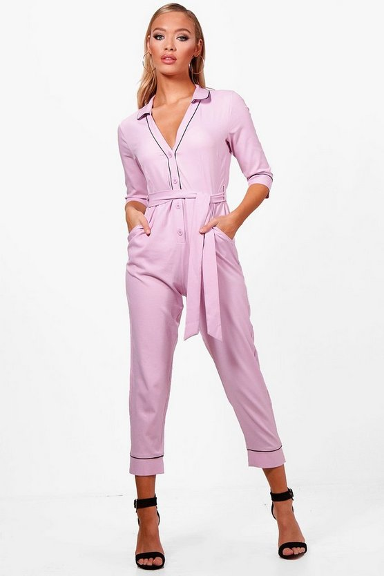 Honey Pyjama Style Skinny Leg Jumpsuit
